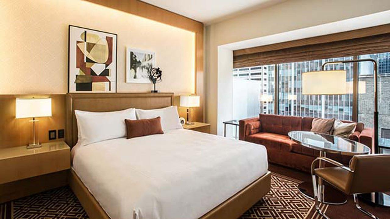 The Conrad Chicago hotel is celebrating its one-year anniversary by offering hotel rooms at a heavily-discounted rate.
