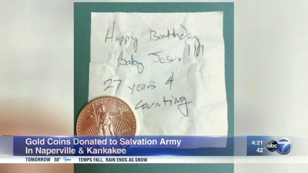 Two gold coins have been donated to the Salvation Army Red Kettle Drive this year.