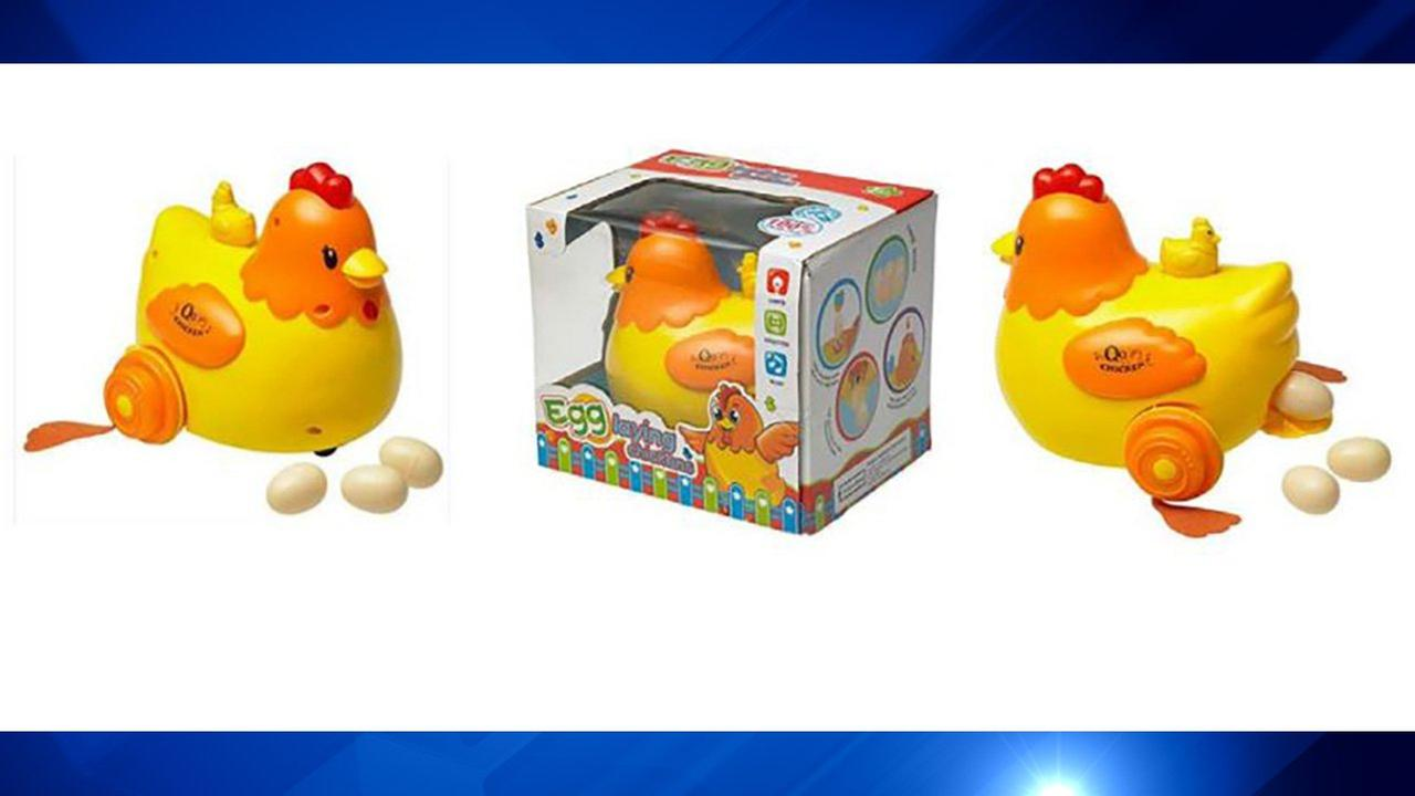 Bump N Go Walking Egg Laying Chicken with Light, Sound and Music could pose a choking hazard.