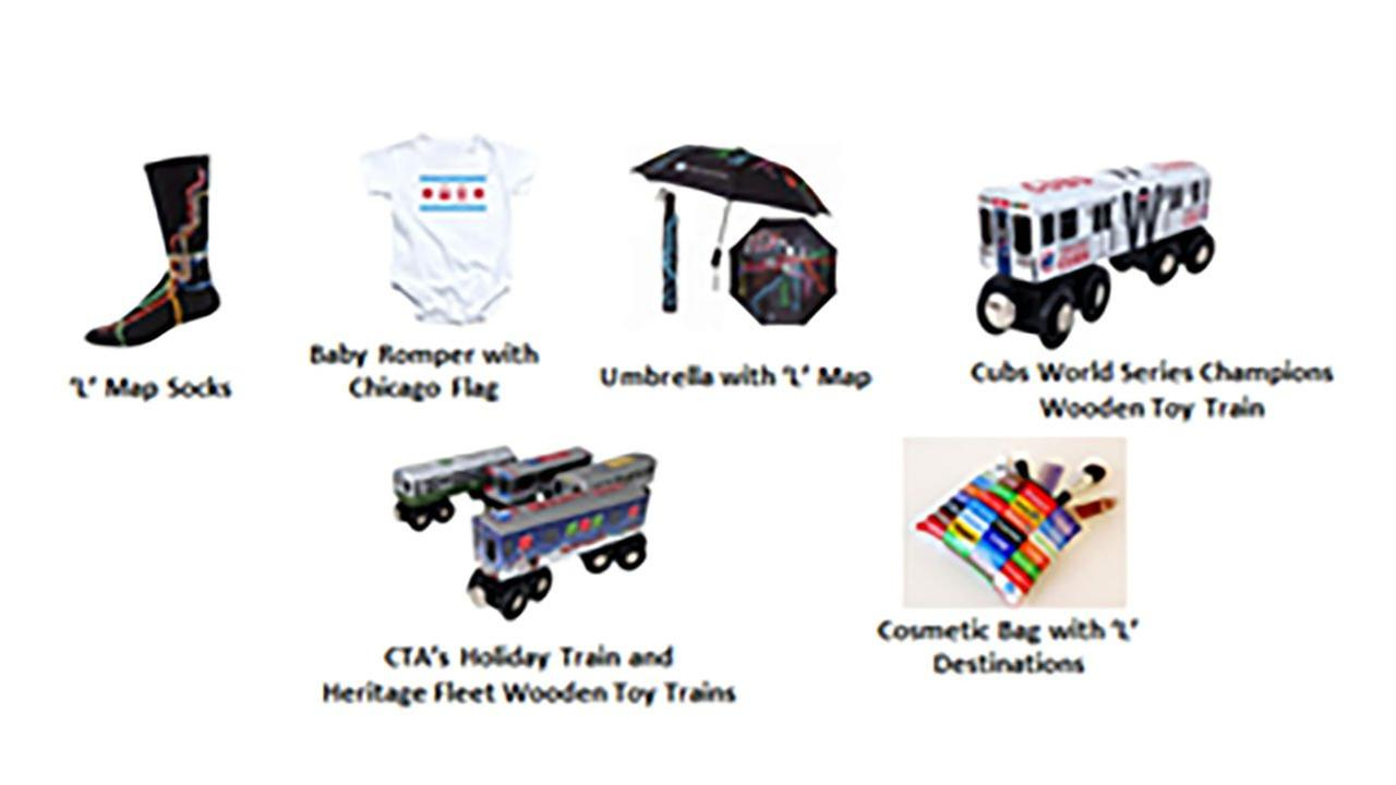 The CTA is offering a variety of gits for the holiday season, including wooden toy trains.