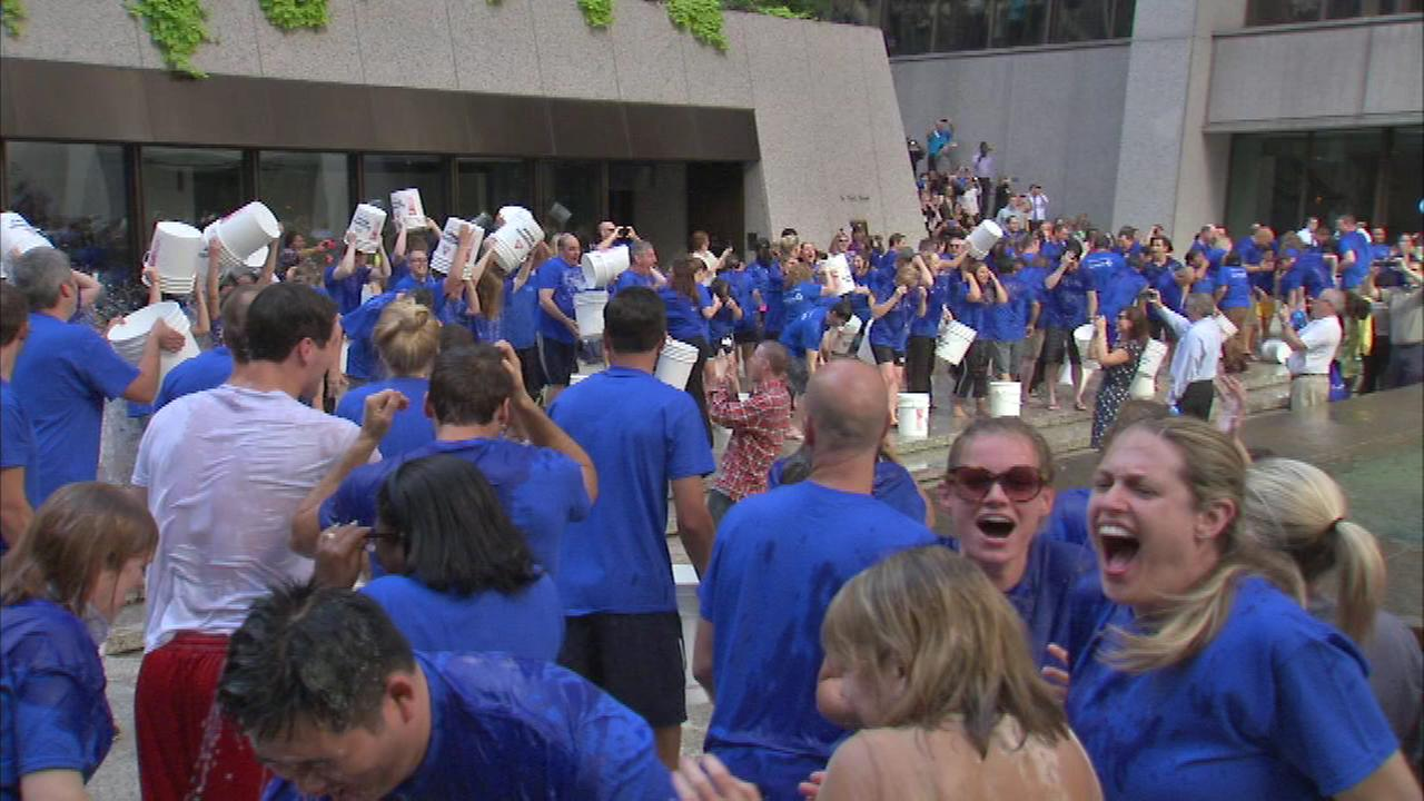 Several hundred Chase Bank employees doused each other with icy water on Wednesday afternoon in the Loop.