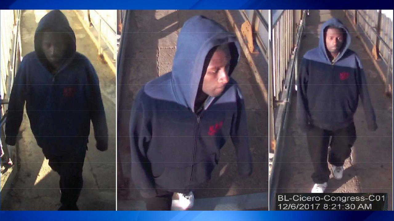 Surveillance images of a man suspected in a groping at a CTA Blue Line platform.