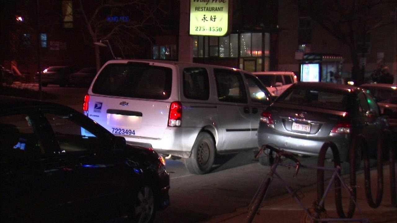 Police said a USPS van crashed in the 5300-block of North Sheridan Road a few minutes after it was stolen.