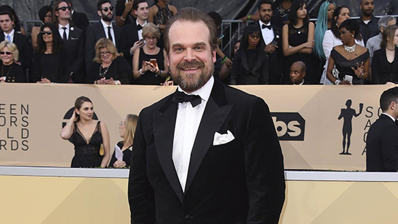 David Harbour arrives at the 24th annual Screen Actors Guild Awards at the Shrine Auditorium and Expo Hall on Sunday, Jan. 21, 2018, in Los Angeles.