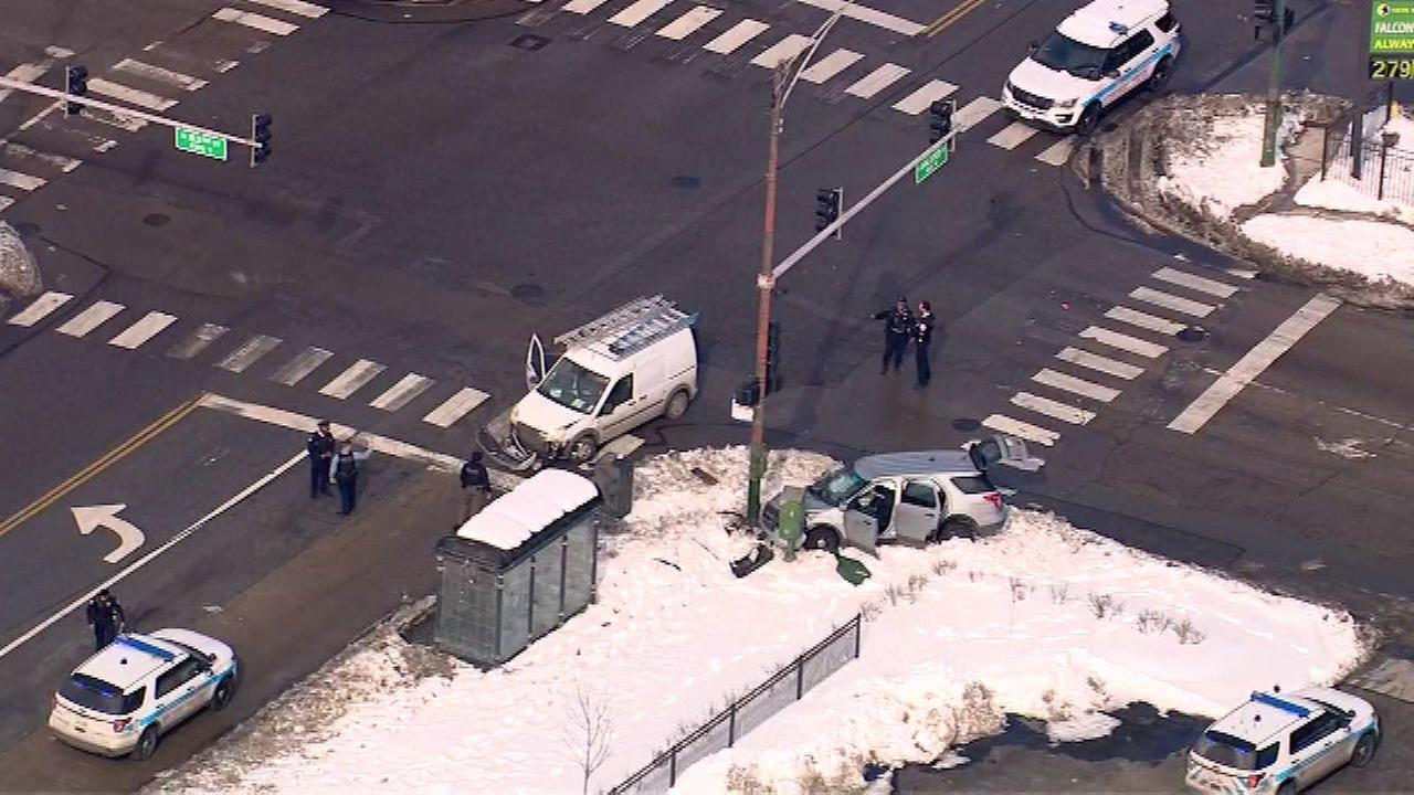 An unmarked Chicago police vehicle was involved in a crash at 83rd Street and Halsted Avenue Wednesday morning.