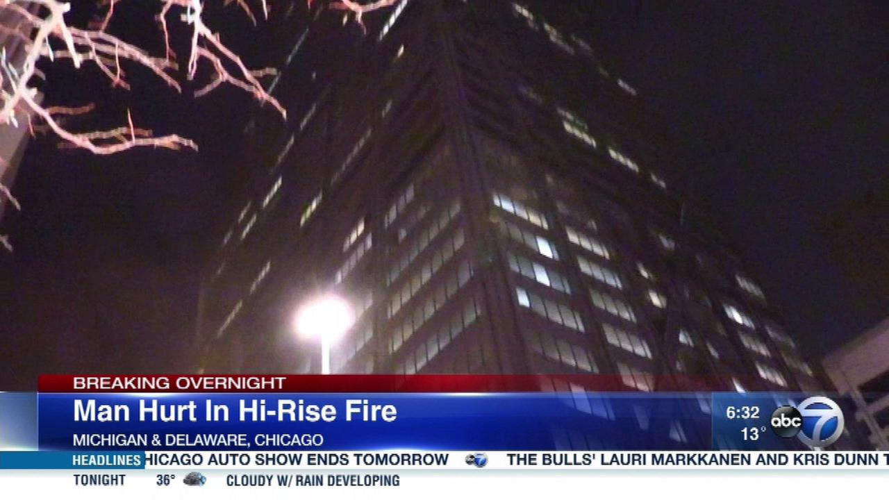 Man injured in fire on 52nd floor of former Hancock building
