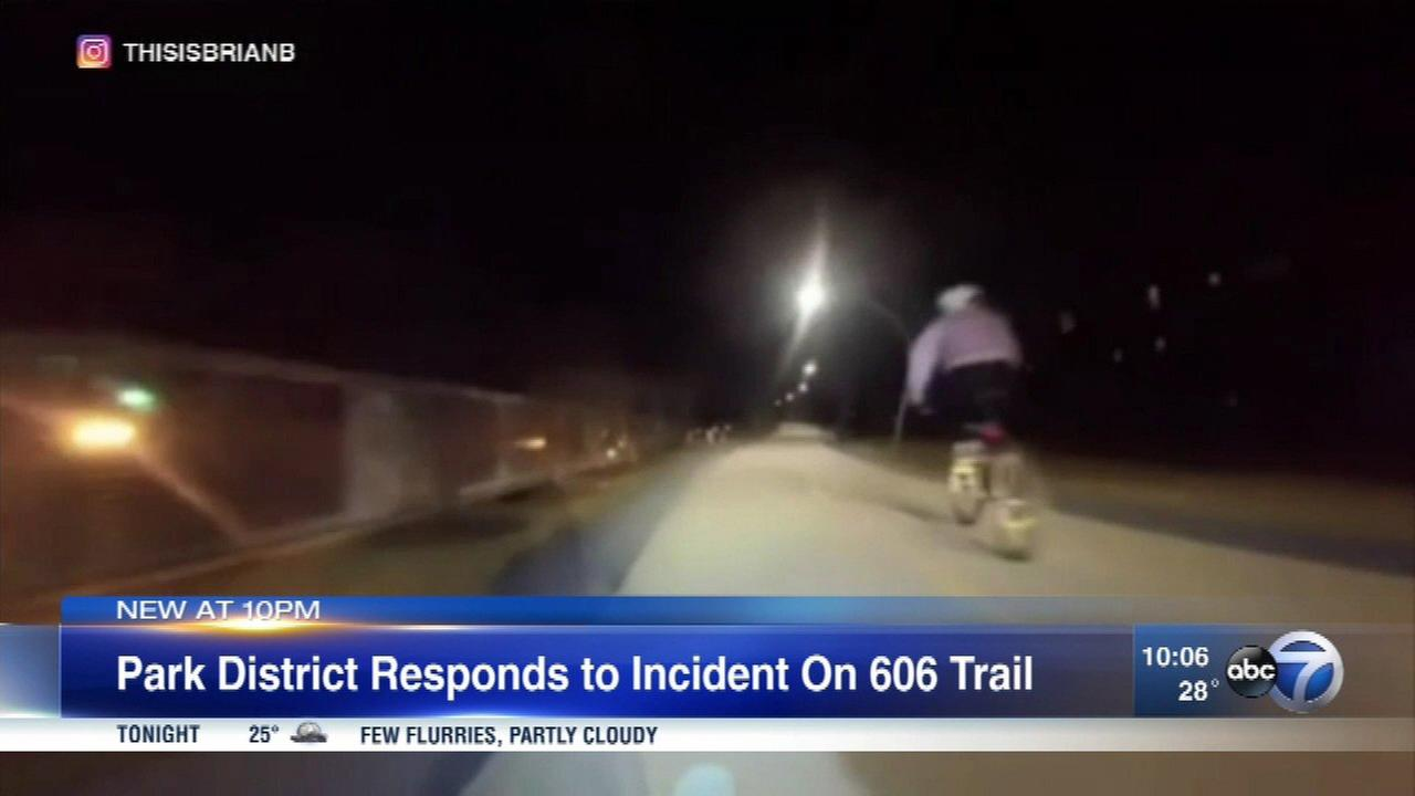 Chicago Park District officials said the cyclist in an Instagram video ran into a security vehicle.