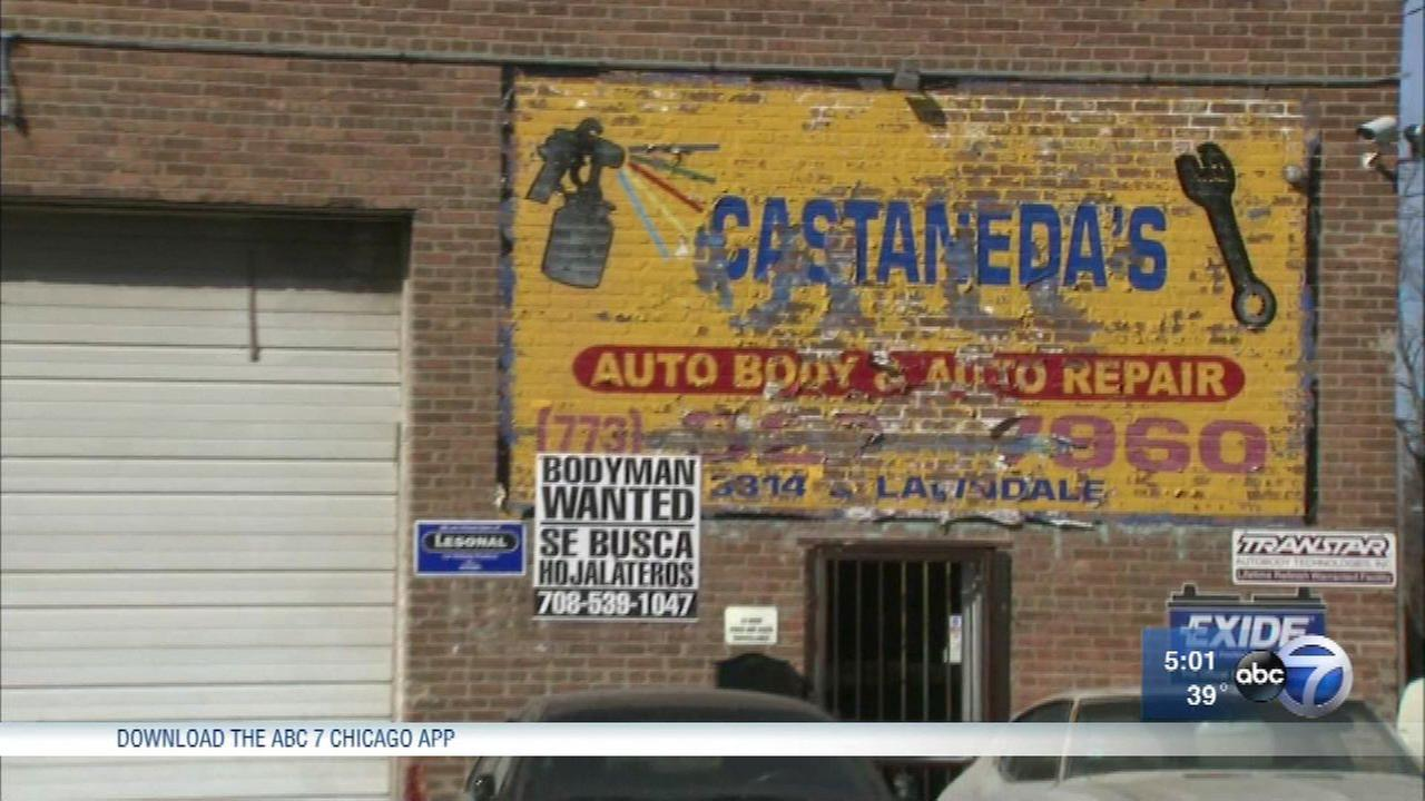 Two men were found dead with gunshot wounds to the head in a Little Village auto body shop Saturday.
