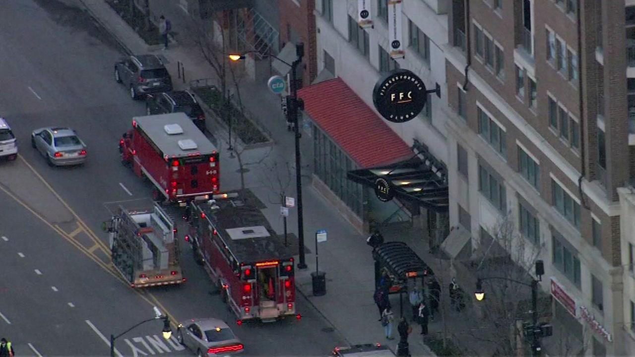 The Chicago Fire Department respond to an incident on the Red Line at State Street at Roosevelt.