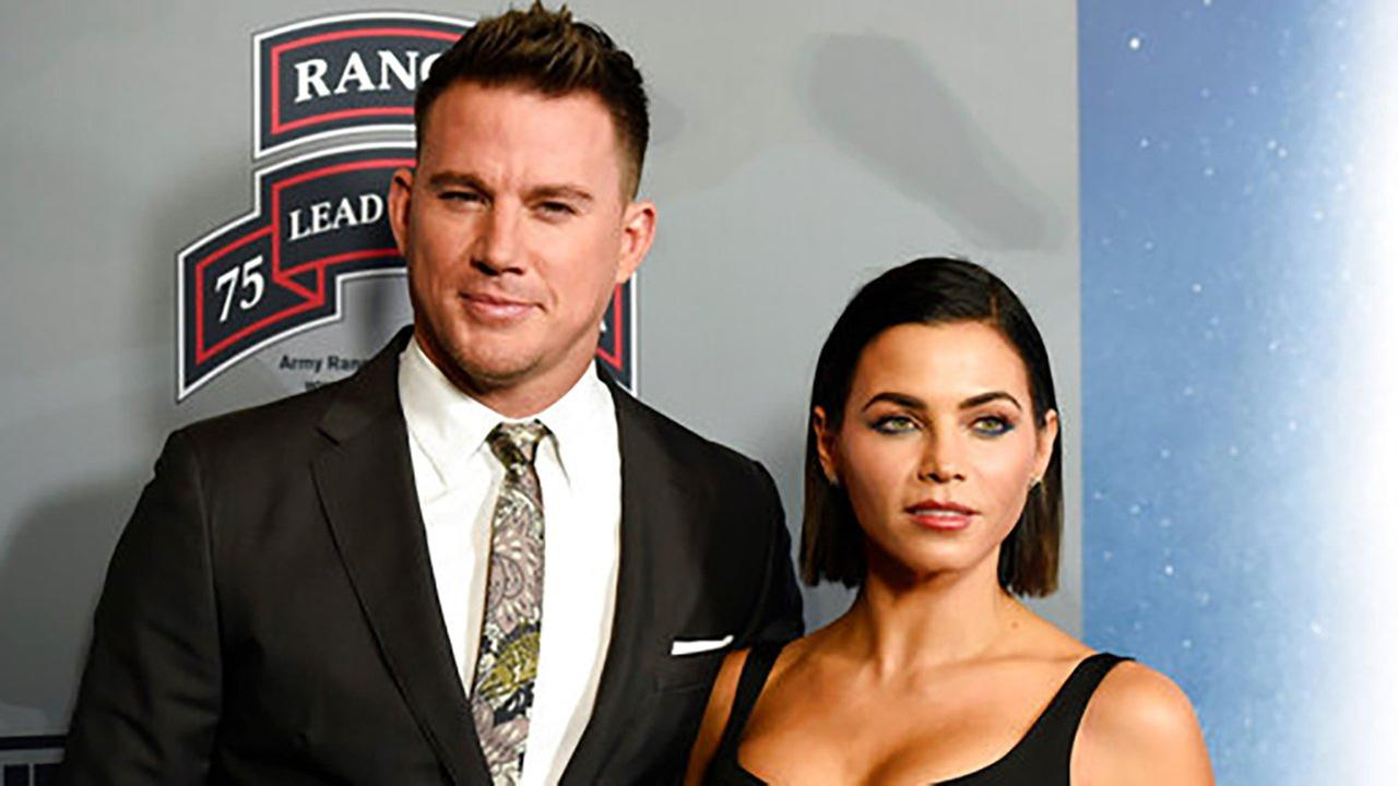 In this Monday, Nov. 6, 2017, file photo, Channing Tatum, left, poses with his wife, actress Jenna Dewan Tatum