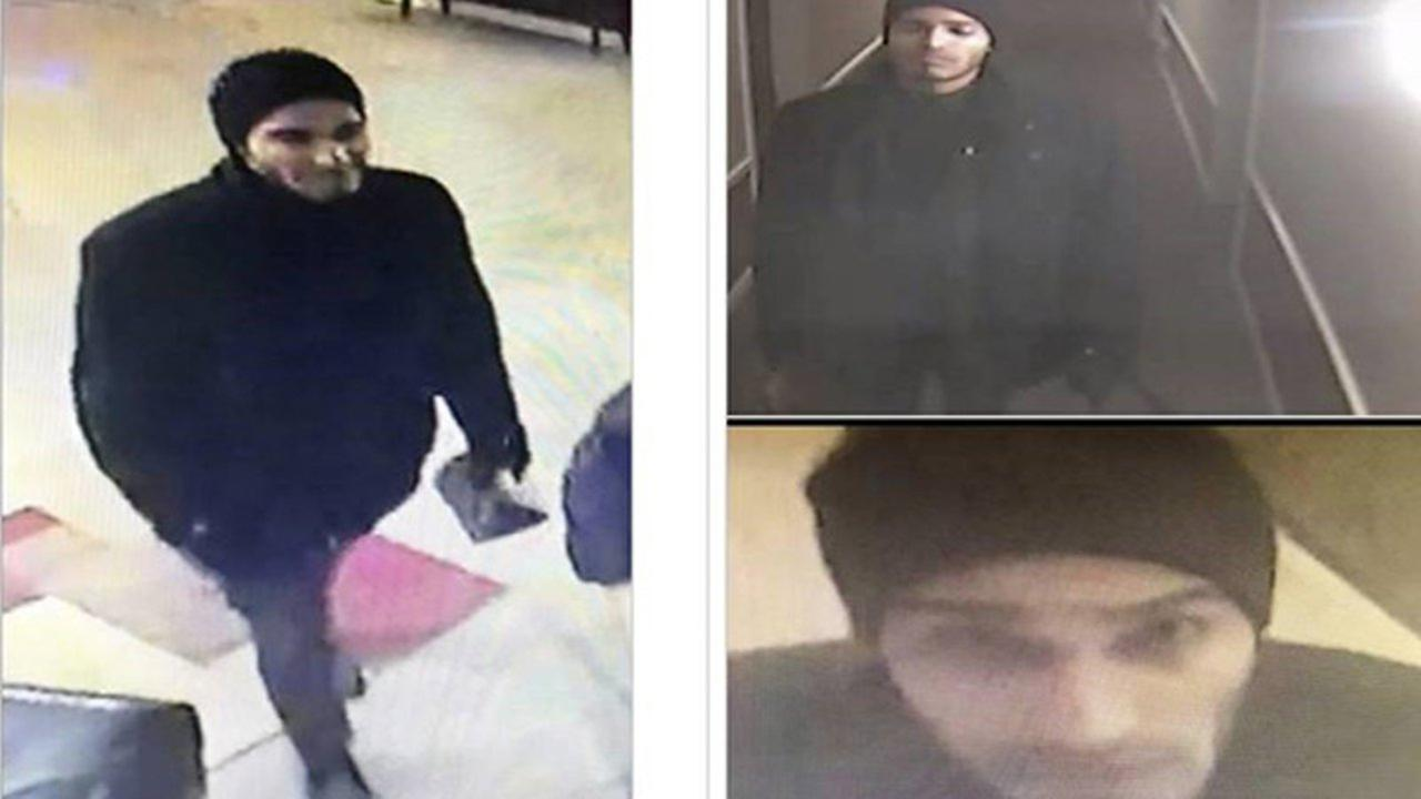 This man, shown in surveillance images, is a person of interest in two Palatine condo burglaries.