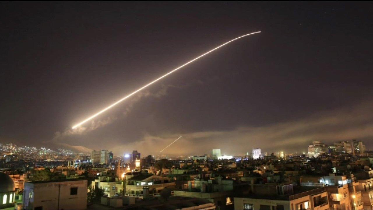 The United States, France and Britain launched military strikes in Syria on April 13, 2018.