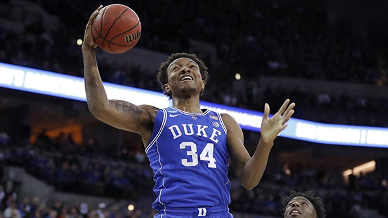 Dukes Wendell Carter Jr (34) heads to the basket during the first half of a regional final game in the NCAA mens college basketball tournament Sunday, March 25, 2018.