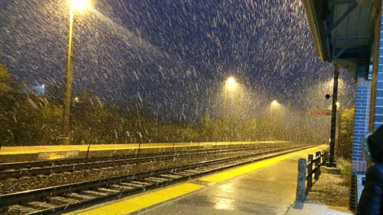 Snow falling in Mundelein.