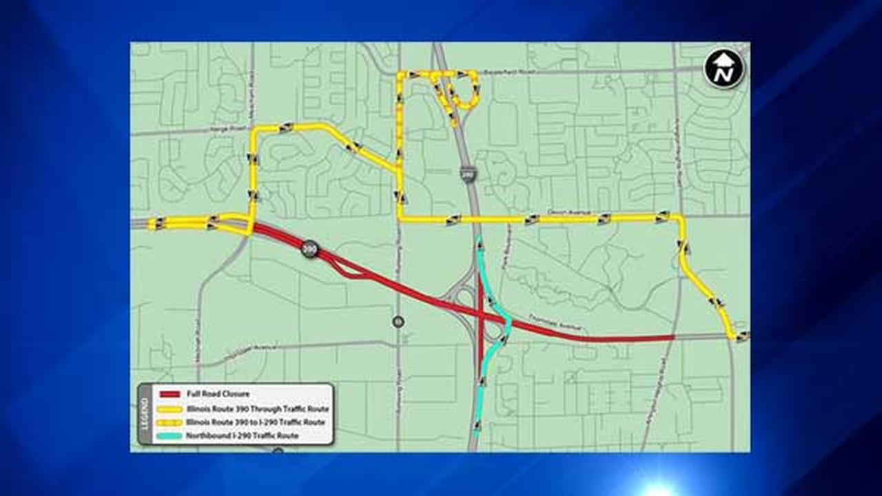 A map of detours around overnight closures on the Elgin-OHare Expressway.