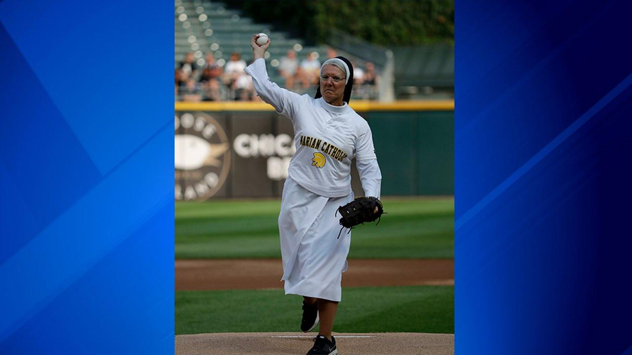 Sister Mary Jo Sobieck throws out a ceremonial first pitch before a baseball game between the Kansas City Royals and the Chicago White Sox, Saturday, Aug. 18, 2018, in Chicago.