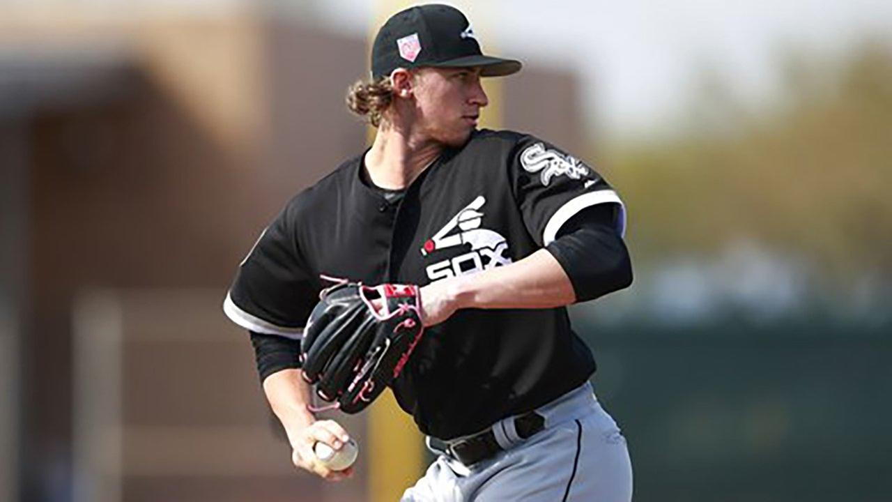 Chicago White Sox pitcher Michael Kopech participates in a drill at the teams spring training baseball facility Saturday, Feb. 17, 2018, in Glendale, Ariz.