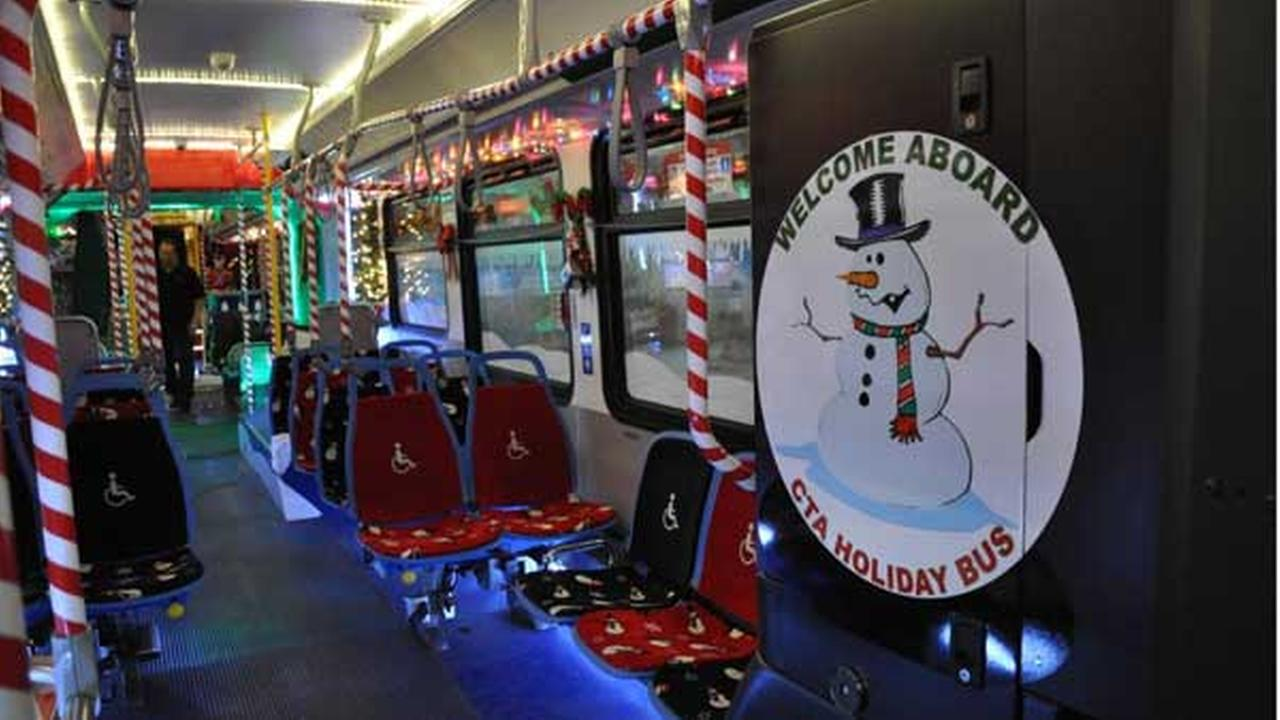 A sneak peek at the new CTA Holiday Bus.
