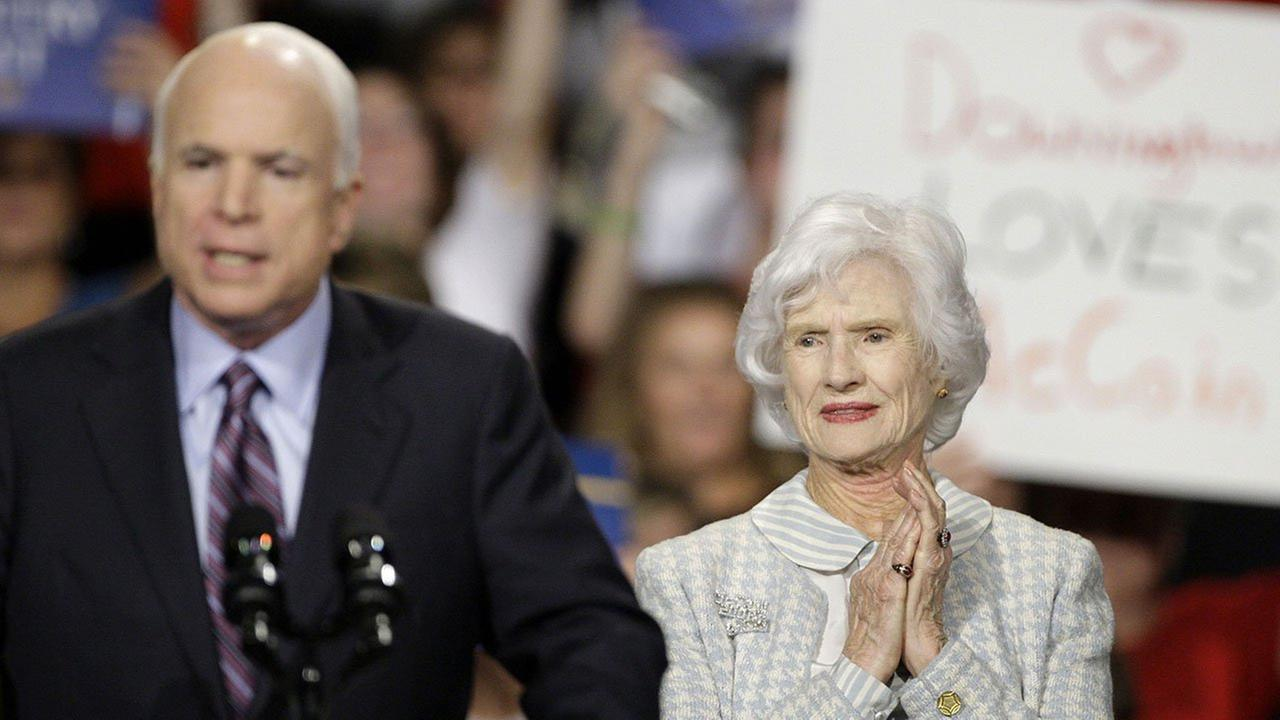 Roberta McCain stands behind her son, then-presidential candidate John McCain, as he makes remarks at a Pennsylvania rally in 2008.