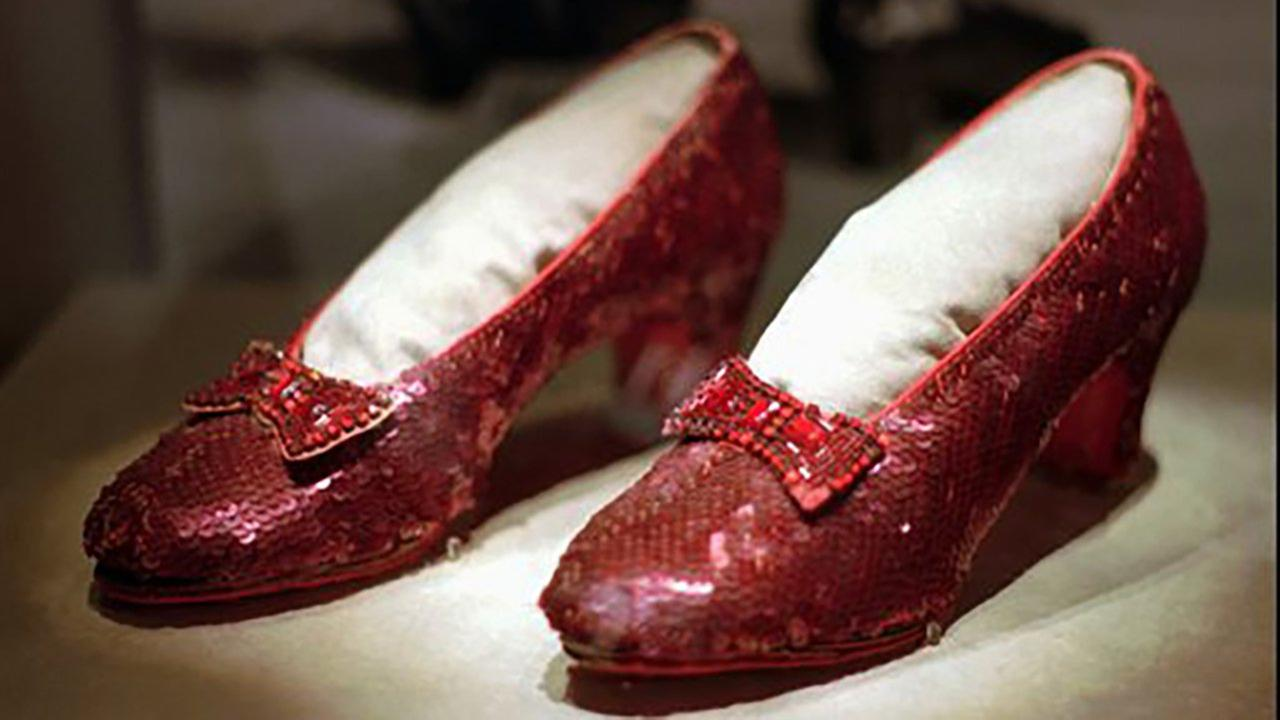 This April 10, 1996 file photo shows one of the four pairs of ruby slippers worn by Judy Garland in the 1939 film The Wizard of Oz.