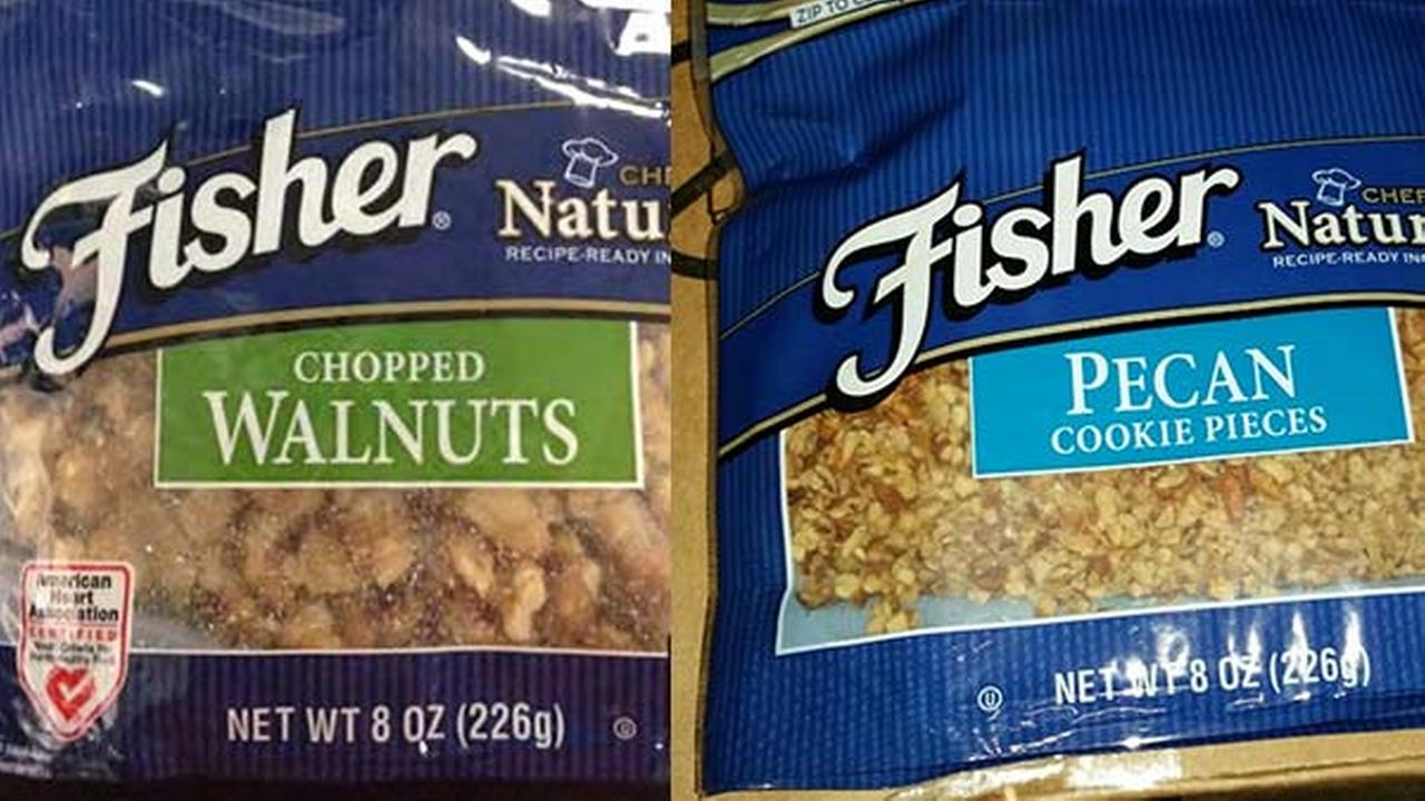 Fisher eight-ounce chopped walnuts and Fisher eight-ounce pecan cookie pieces