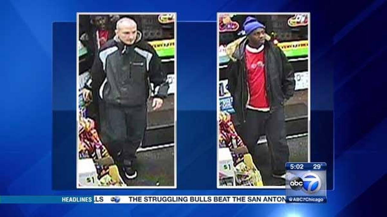 Surveillance photos of suspects in two robberies on Chicagos Northwest Side.