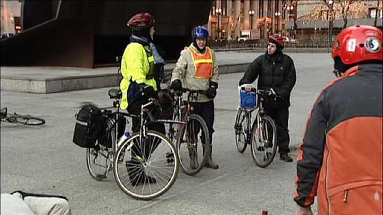 Riders meet in Daley Plaza for Winter Bike to Work Day
