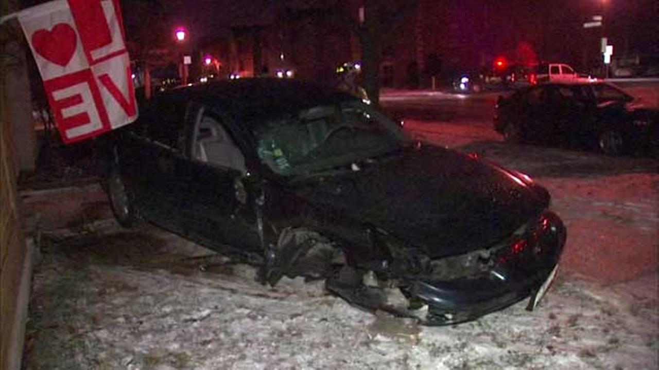 No injuries after car, police car crash into Berwyn building