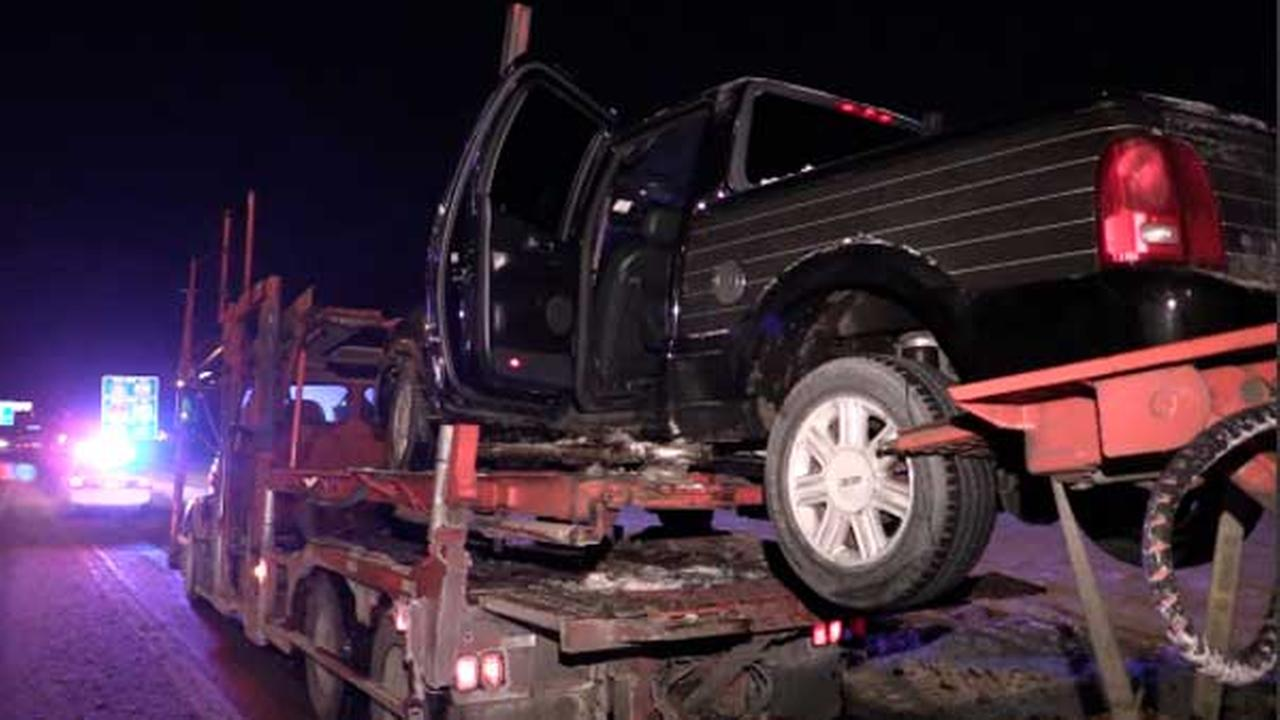 Pickup truck drives onto full-size car carrier on I-94 near Sibley