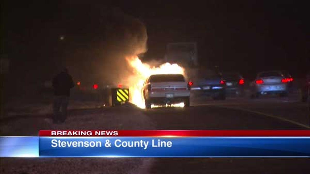 Vehicle catches fire on outbound I-55 near County Line Road