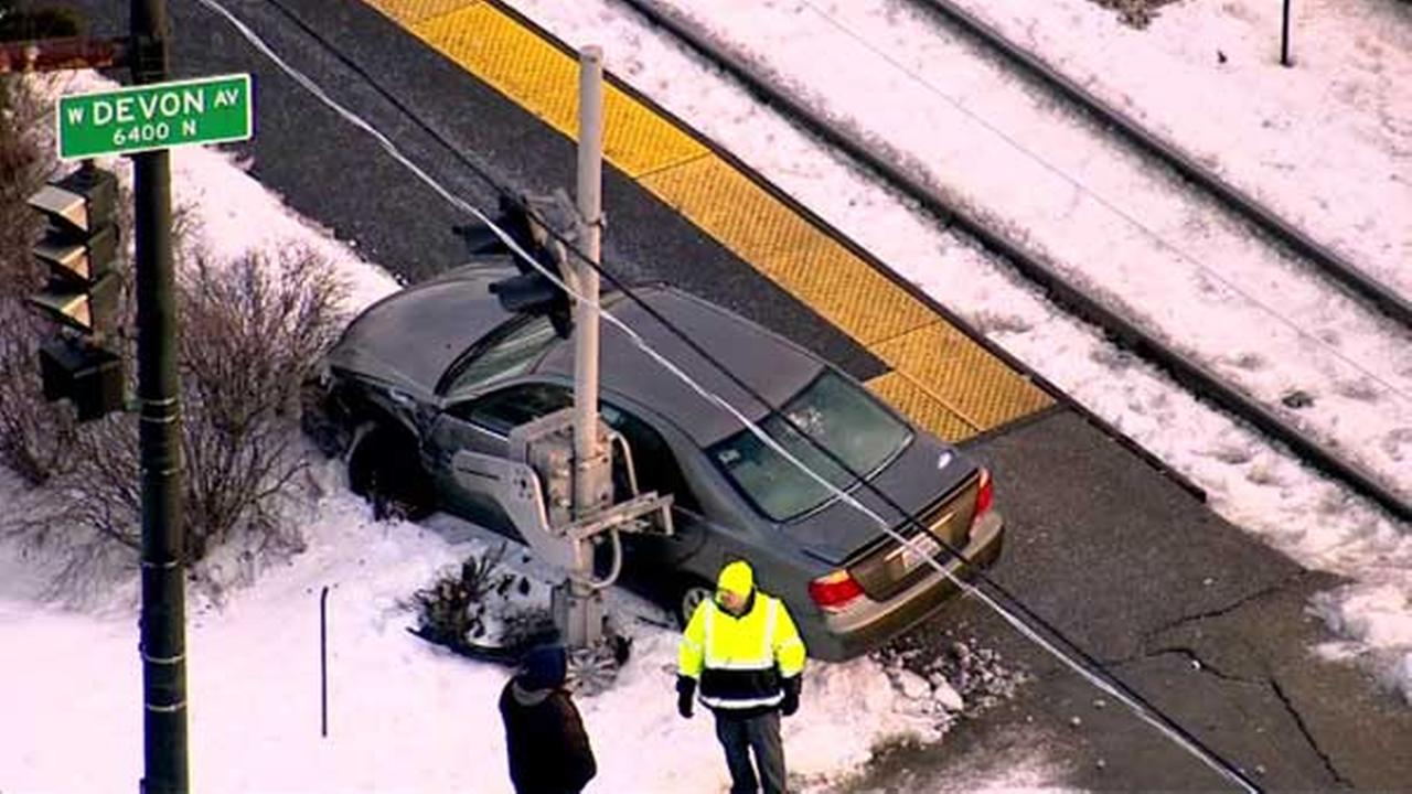 Car ends up on Metra tracks on Far Northwest Side; no train involved