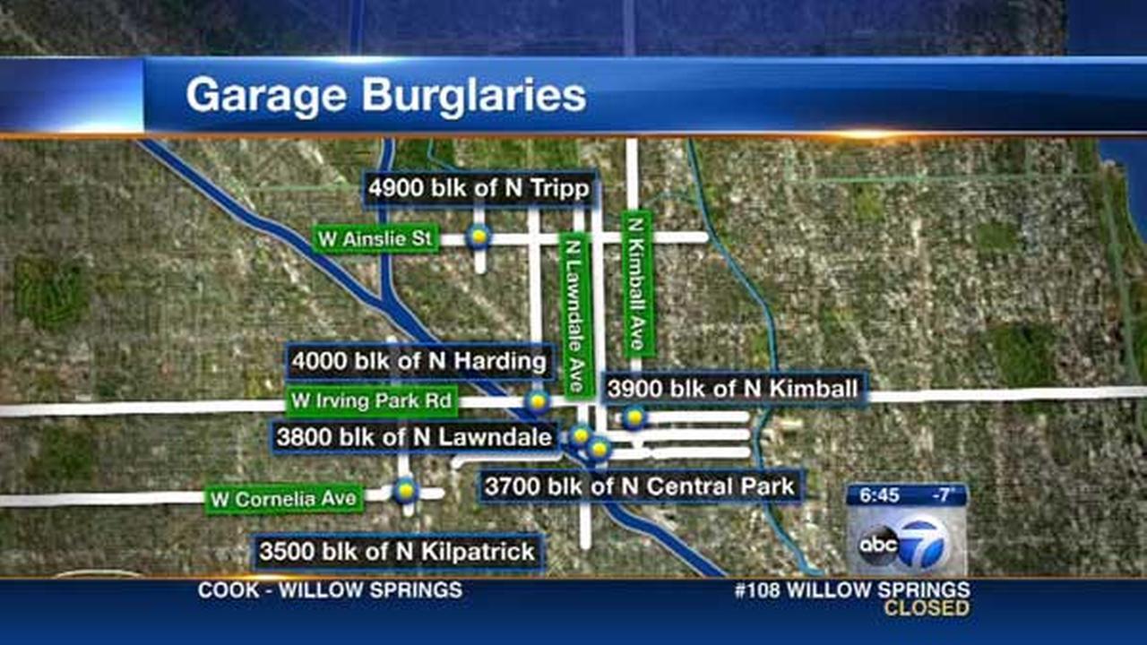 6 garages broken into on Chicago's Northwest Side