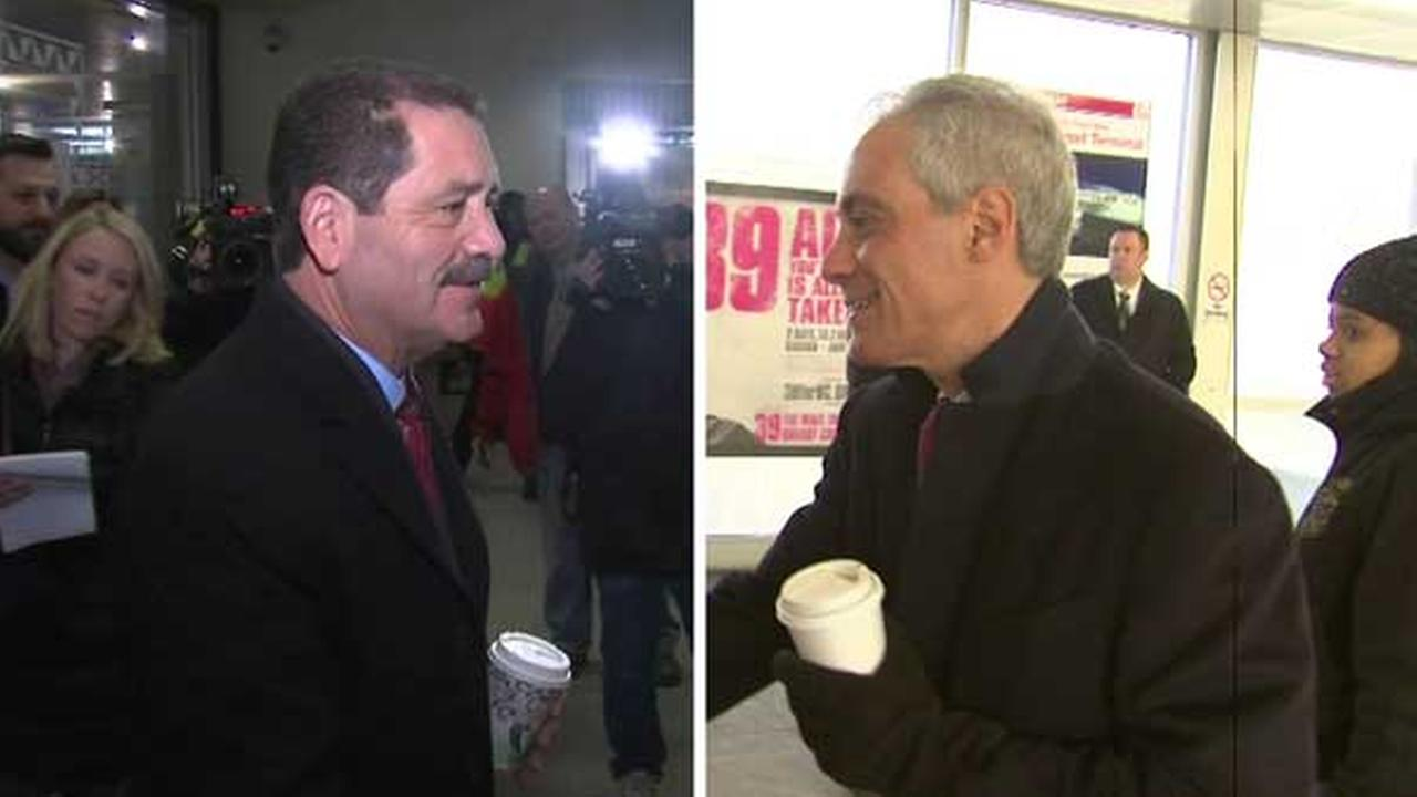 Mayor Rahm Emanuel and Cook County Commissioner Jesus Chuy Garcia hit the ground running in an effort to earn Chicagos vote for mayor.