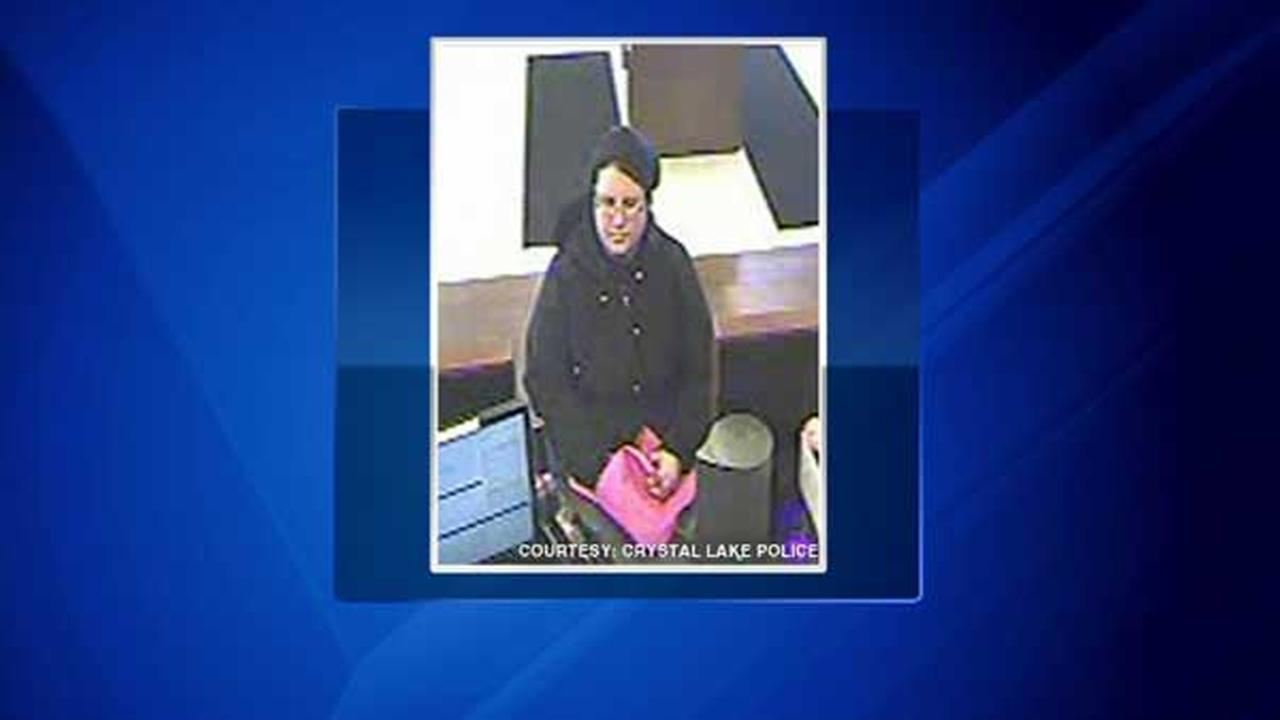 Surveillance photo of a woman who robbed a Chase Bank in Crystal Lake.
