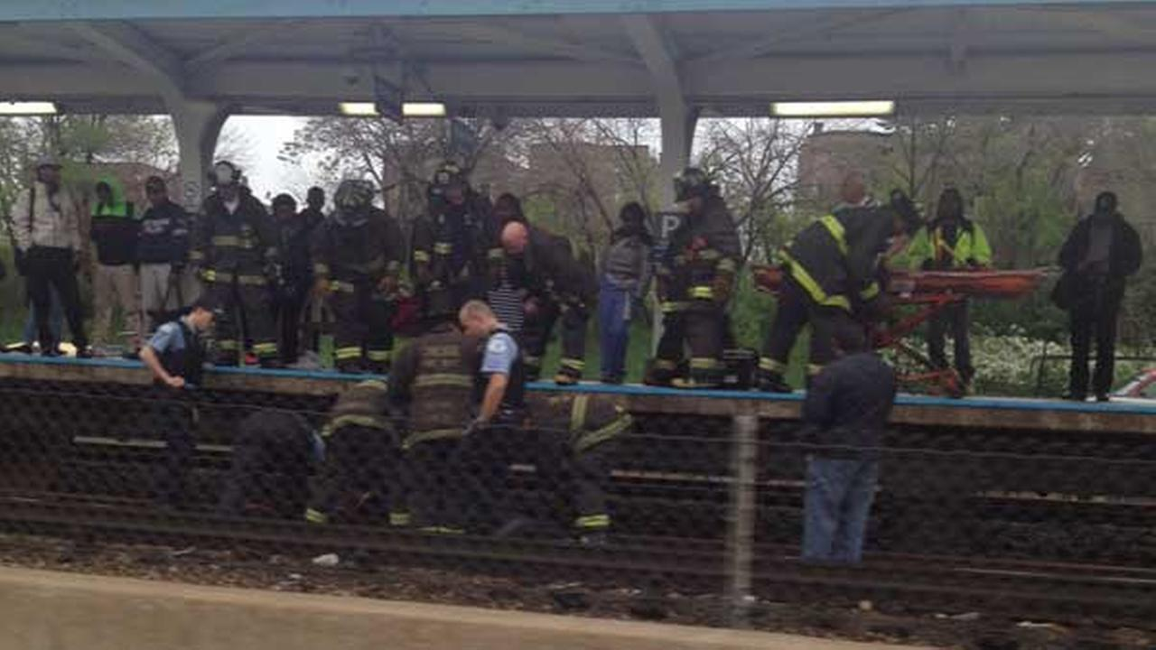 The CTA shut off power on the Blue Line due to an unauthorized person on the tracks.