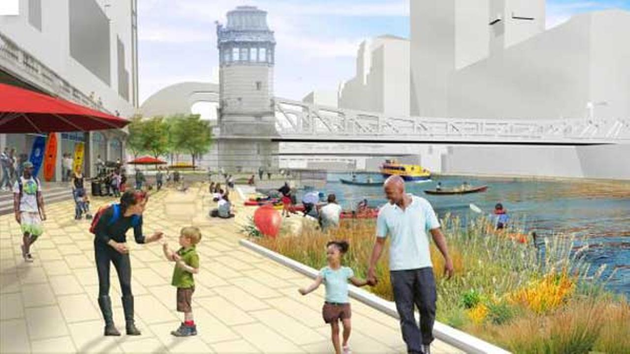 A rendering of the completed Chicago Riverwalk.