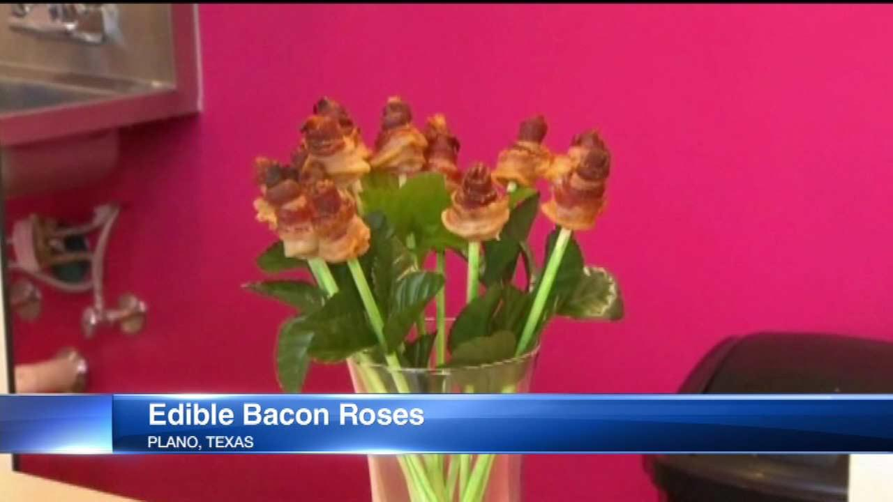 Bakery offering roses made of bacon