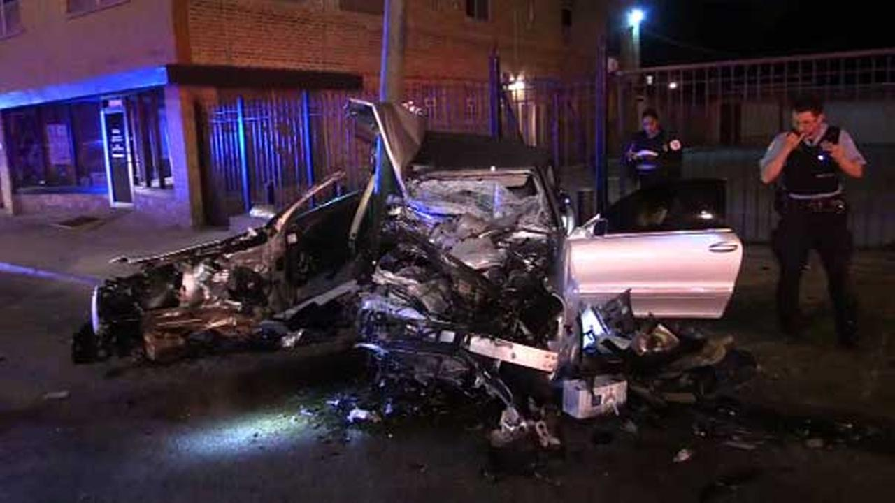 Crash nearly splits car in half; driver survives