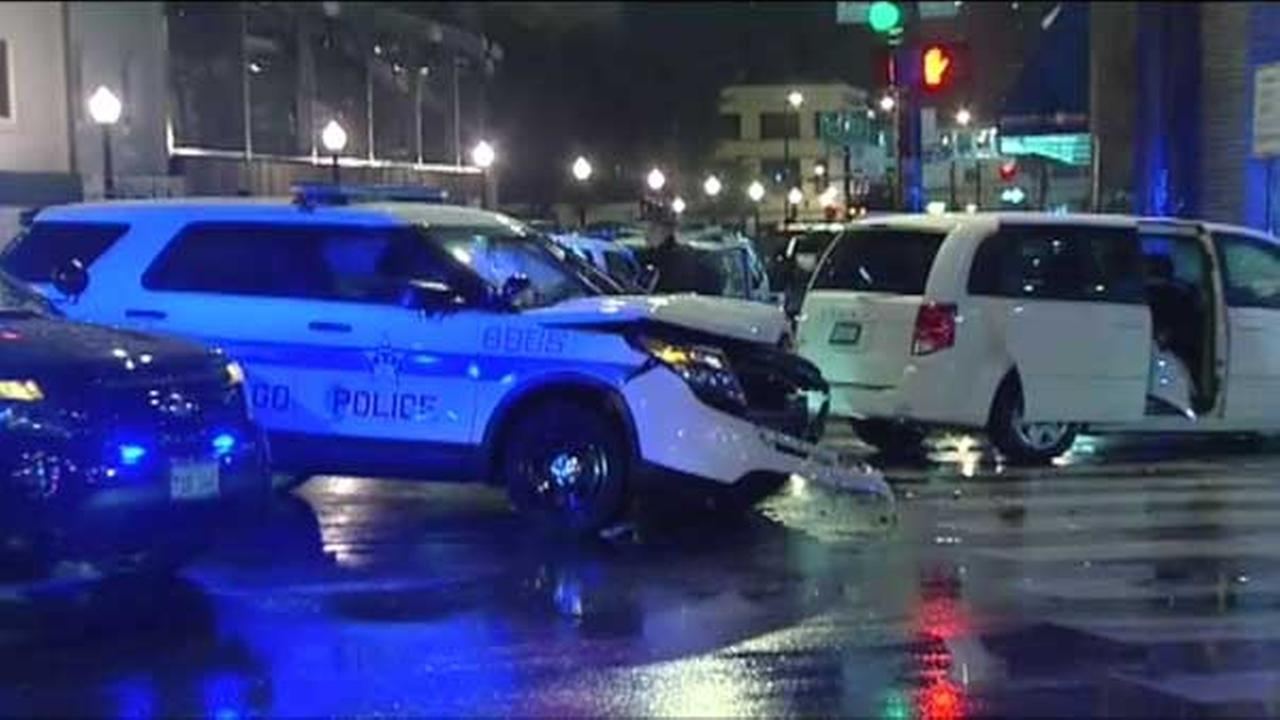 A police SUV and an Uber driver crashed at the intersection of Clark and Addison next to Wrigley Field.