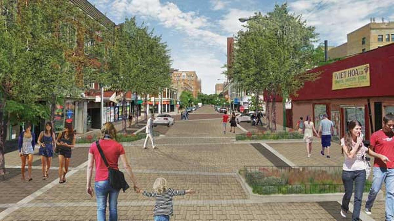 A rendering of West Argyle Street as a shared street.