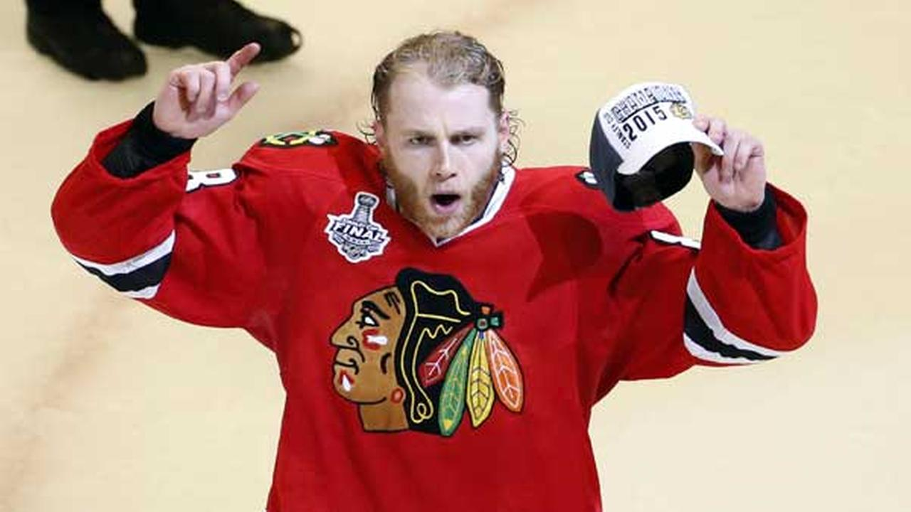 Chicago Blackhawks Patrick Kane celebrates after defeating the Tampa Bay Lightning in Game 6 of the NHL hockey Stanley Cup Final series in Chicago.