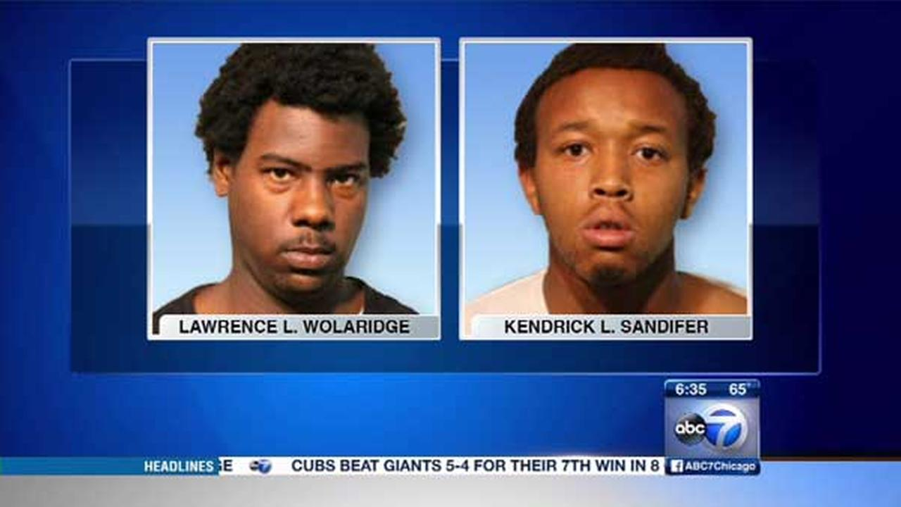 Lawrence Wolaridge, 22, and Kendrick Sandifer, 19, were charged with attempted robbery after police said they tried to grab a womans purse in Chicagos Lakeview neighborhood.