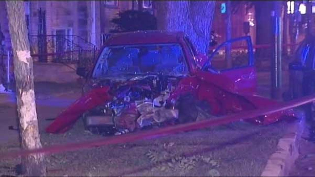A pregnant woman was seriously injured after a speeding car crashed into hers and pushed it into a tree on Chicagos North Side.