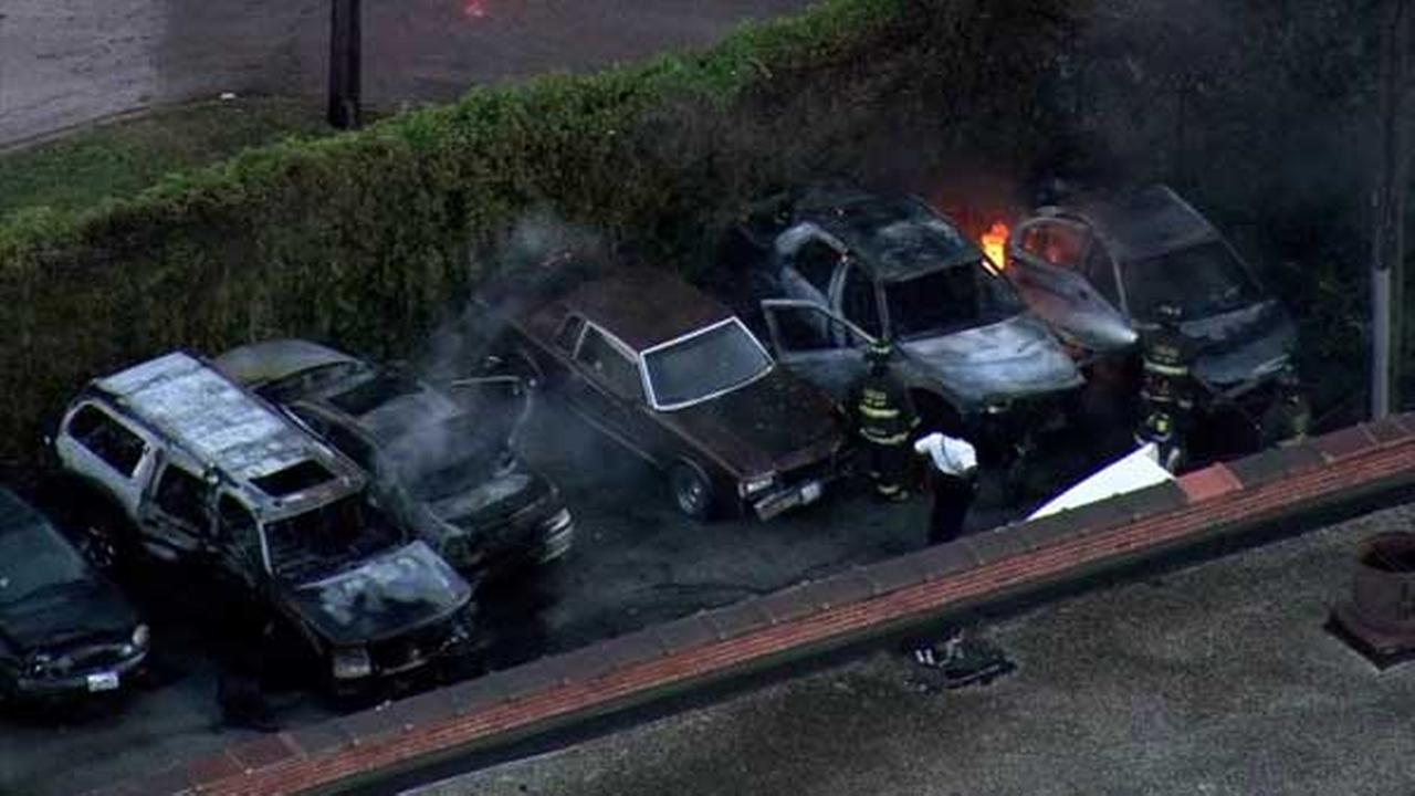 Several cars caught fire outside a body shop in the citys South Chicago neighborhood.