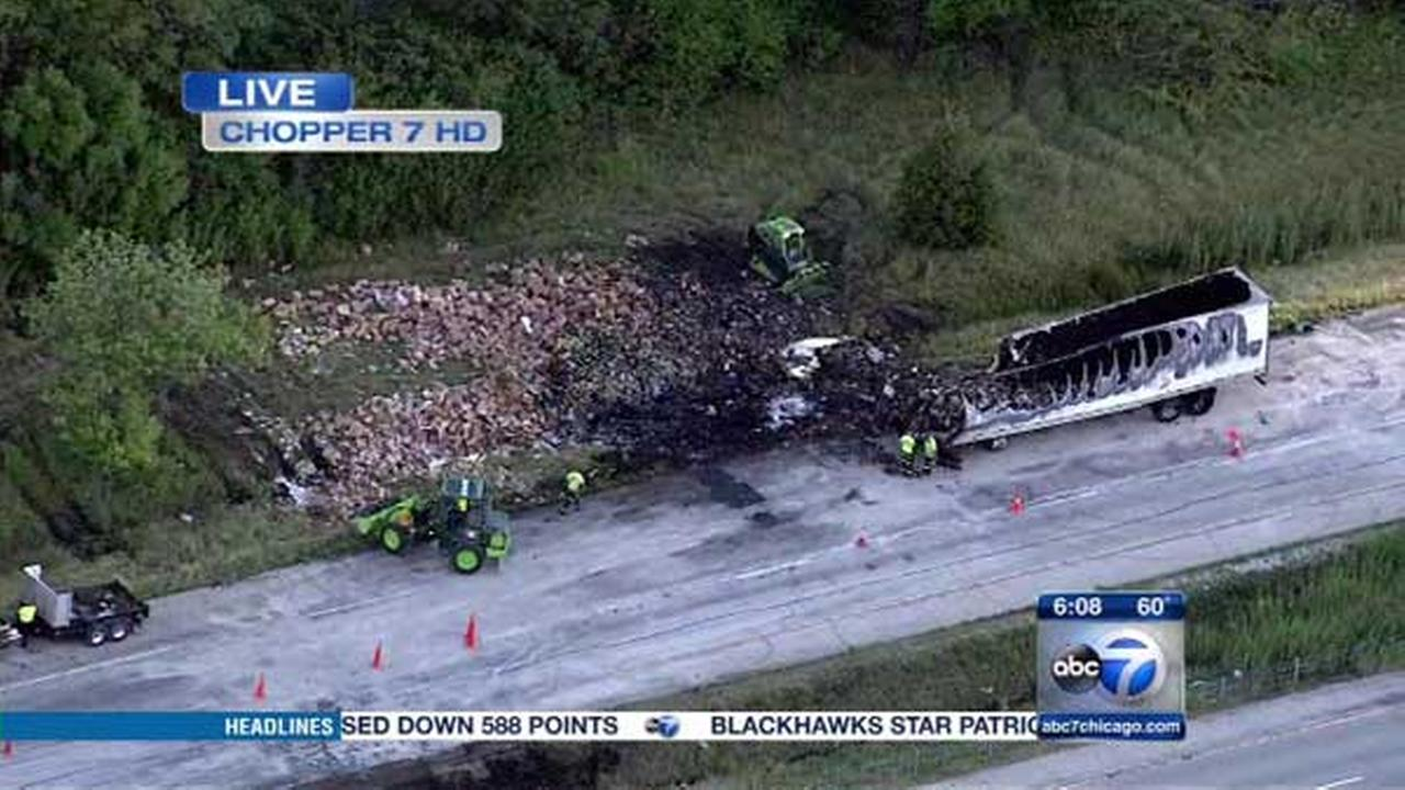 A truck driver was killed in a crash involving two semis on southbound I-55 near Braceville, in Grundy County.