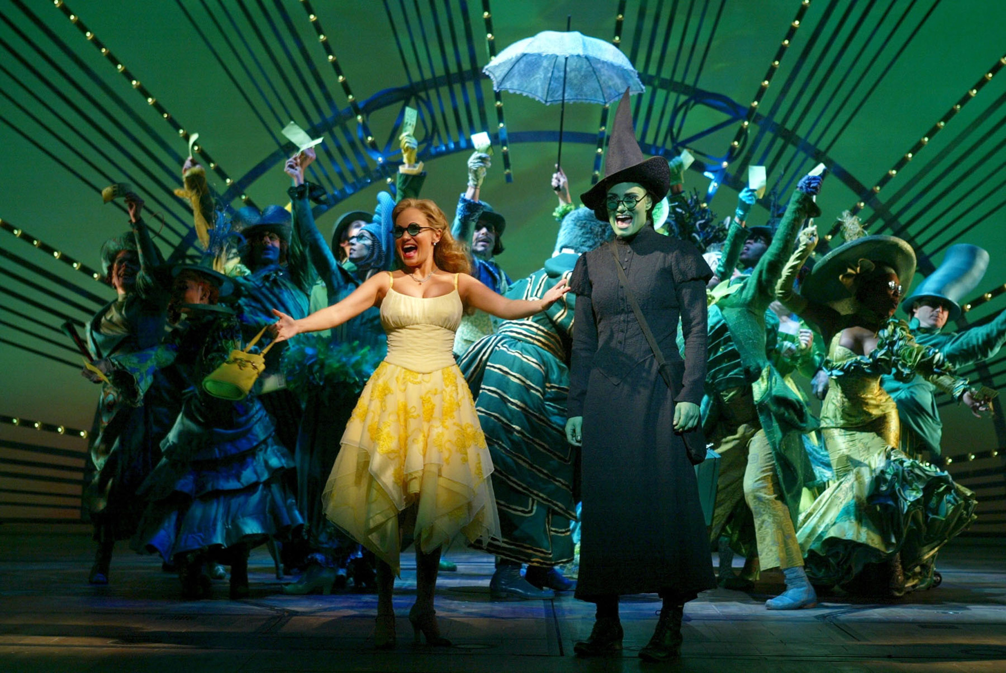 Kristin Chenoweth, left, and Idina Menzel, right, are shown in this undated publicity photo from the Broadway musical  Wicked. The movie version will hit theaters December 2021.