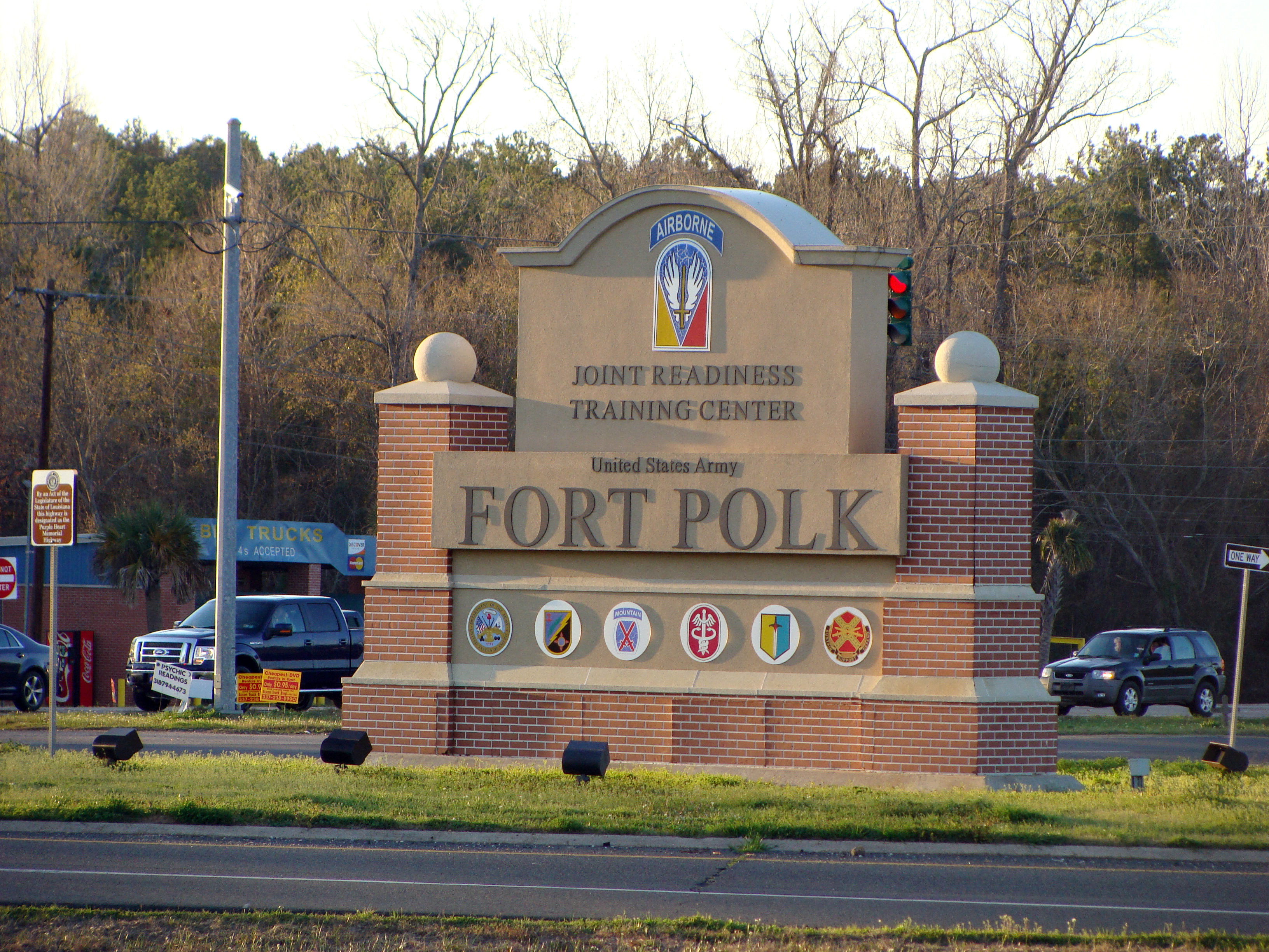 This Feb. 22, 2012, file photo, shows the entrance of the Fort Polk Joint Readiness Training Center in Fort Polk, La.