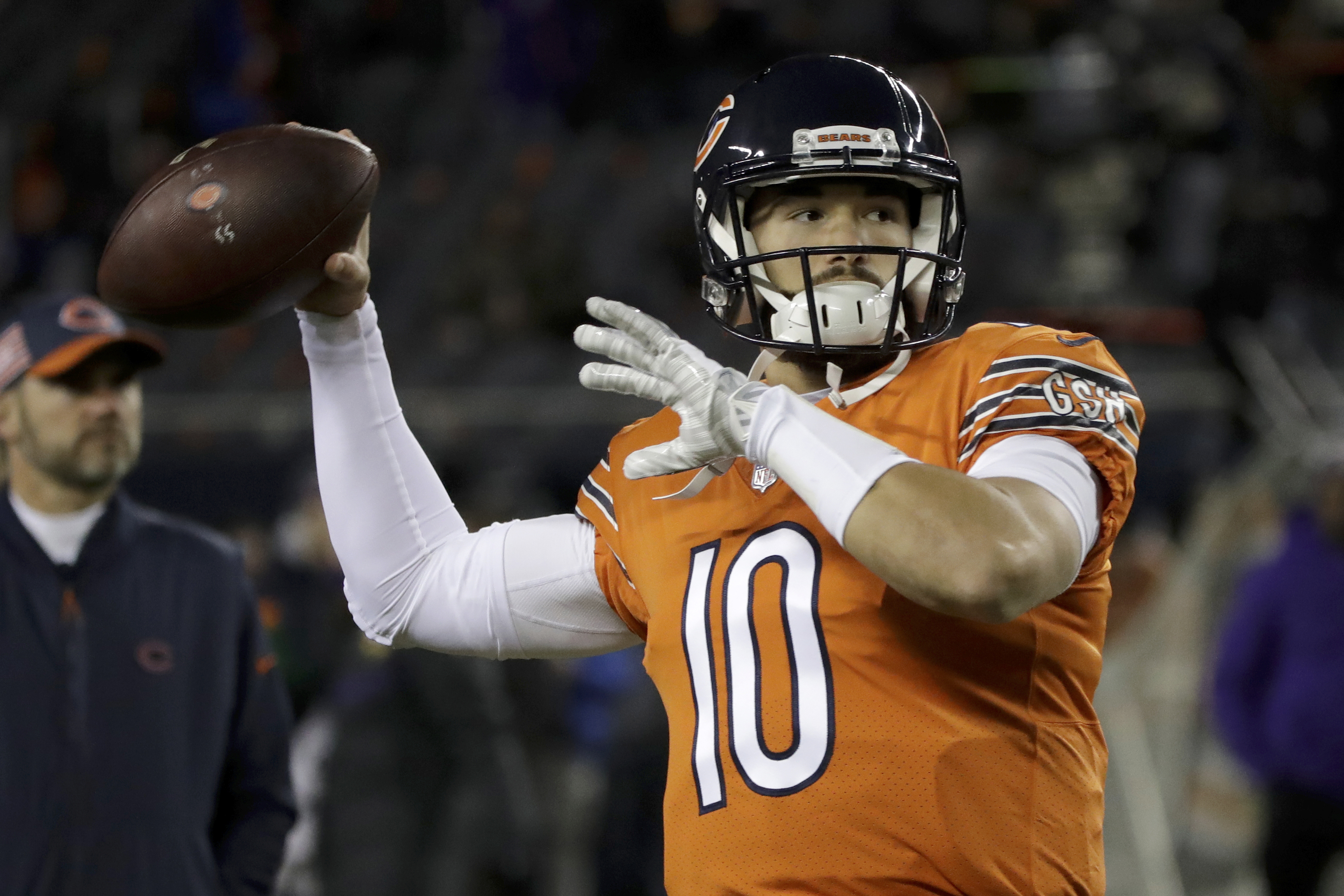Chicago Bears quarterback Mitchell Trubisky (10) warms up before an NFL football game against the Minnesota Vikings.