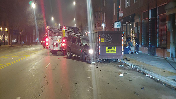A woman was shot while riding in a car in Logan Square early Saturday.
