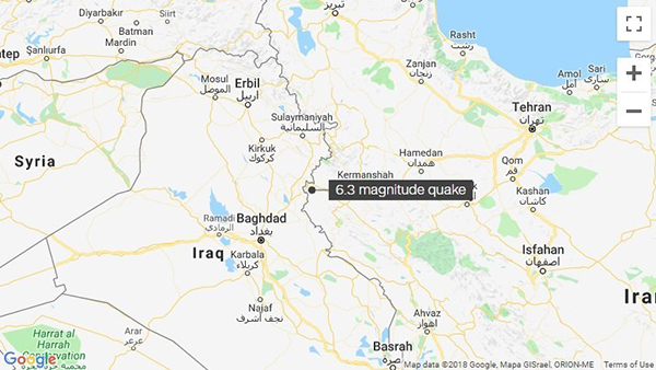 A 6.3 magnitude earthquake struck in western Iran near the border with Iraq, the US Geological Survey said Sunday.